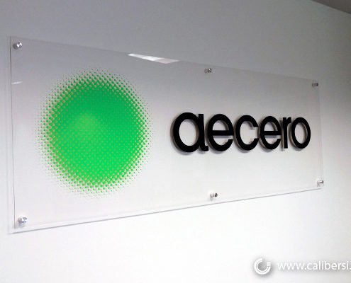 Aecero Acrylic Lobby Sign with Digital Vinyl in Orange County - Caliber Signs & Imaging in Irvine Call: 949-748-1070