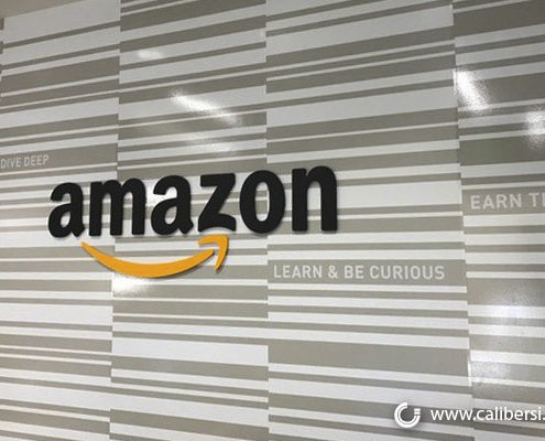 Amazon Acrylic Lobby Sign Orange County - Caliber Signs & Imaging in Irvine Call: 949-748-1070