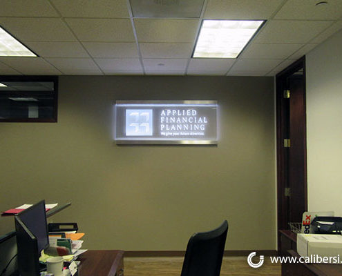 Applied Financial Planning Custom Illuminated lobby sign Orange County - Caliber Signs & Imaging in Irvine Call: 949-748-1070