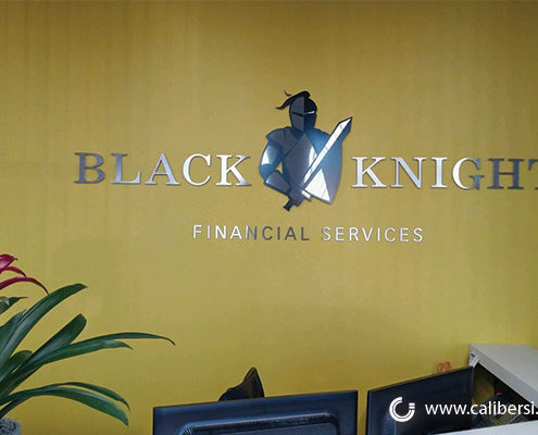 Black Knight Interior Reception Sign Orange County - Caliber Signs & Imaging in Irvine Call: 949-748-1070