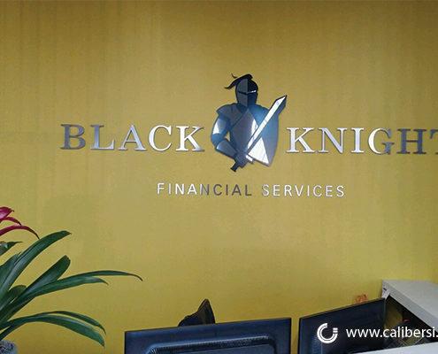Black Knight Interior Reception Sign Orange County - Caliber Signs & Imaging in Irvine Call: 949-748-1070
