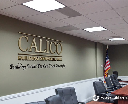 Calico Building Services, Inc Gold Brushed and Foam Conference Room Sign Orange County - Caliber Signs & Imaging in Irvine Call: 949-748-1070