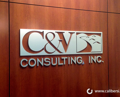 C&V PVC Brush Aluminum sign Orange County - Caliber Signs & Imaging in Irvine Call: 949-748-1070