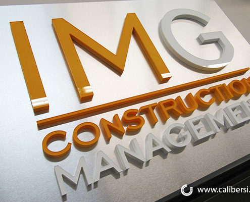 IMG Construction Management Custom Lobby Sign Orange County - Caliber Signs & Imaging in Irvine Call: 949-748-1070