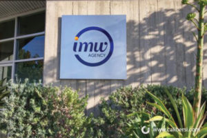 IMW Agency exterior building aluminum sign Orange County - Caliber Signs & Imaging in Irvine Call: 949-748-1070