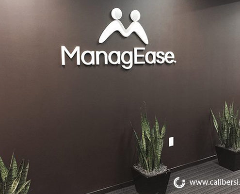 MangEase reception acrylic sign Orange County - Caliber Signs & Imaging in Irvine Call: 949-748-1070