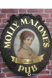 Molly Malone's Pub custom exterior plaque orange county - Caliber Signs & Imaging in Irvine Call: 949-748-1070