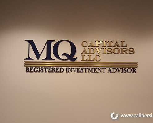 MW Capital brushed gold and colored acrylic sign Orange - Caliber Signs & Imaging in Irvine Call: 949-748-1070