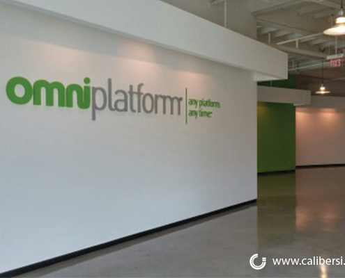 OmniPlatform Large Painted Acrylic Lobby Sign Orange County - Caliber Signs & Imaging in Irvine Call: 949-748-1070