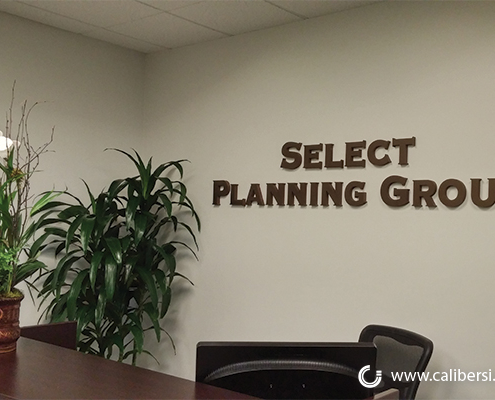 Select Planning Group Reception Desk Acrylic Painted Sign Lake Forest Orange County - Caliber Signs & Imaging in Irvine Call: 949-748-1070