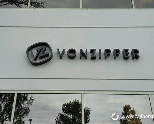 Vonzipper Exterior Foam building sign Orange County - Caliber Signs & Imaging in Irvine Call: 949-748-1070
