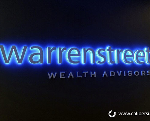 Warren EdgeLit blue acrylic Orange County - Caliber Signs & Imaging in Irvine Call: 949-748-1070