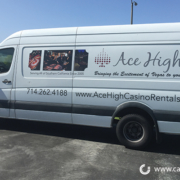 Ace High Casino Vehicle lettering graphics Orange County by Caliber Signs & Imaging in Irvine - Call 949-748-1070