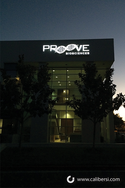 Proove Building Sign at Night