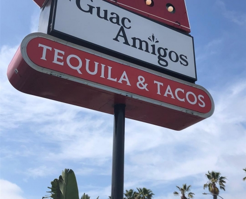 Refurbished Double-Sided Pylon Sign in Newport Beach CA