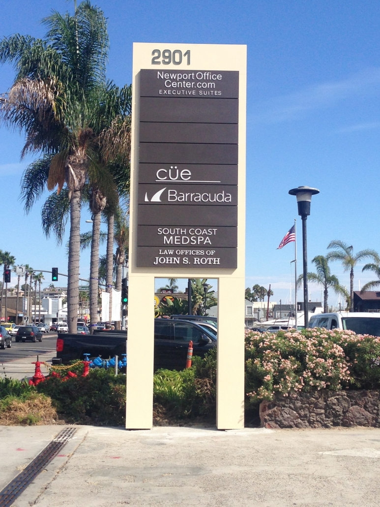 Tenant Pylon Sign in Newport Beach CA for Executive Suites