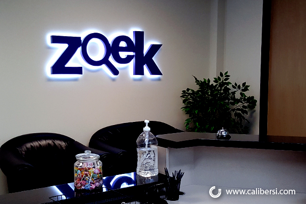 Illuminated backlit signs for offices