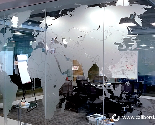 World Map on Window with Frosted Vinyl