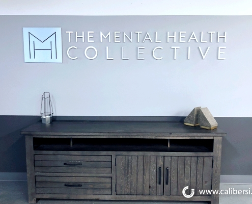 3D Letter Brushed Aluminum Lobby Sign in Irvine CA