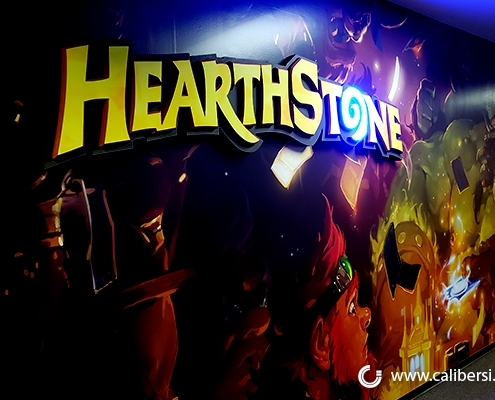 Blizzard's HearthStone wall-mounted office sign in Irvine, CA.