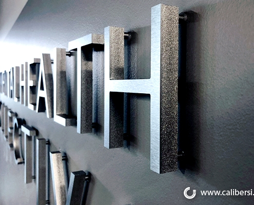 Brushed Aluminum Lobby Sign in Orange County CA
