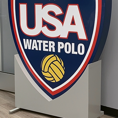 USA Water Polo freestanding office sign in Irvine, CA.