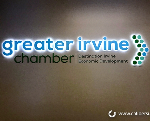 Greater Irvine Chamber of Commerce illuminated office sign in Irvine, CA.