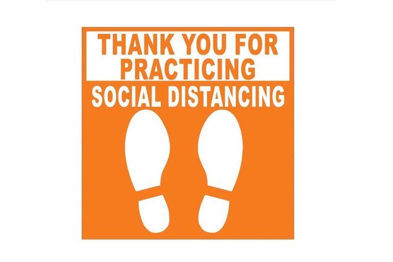 COVID 19 Social Distancing Floor Decals for Orange County CA