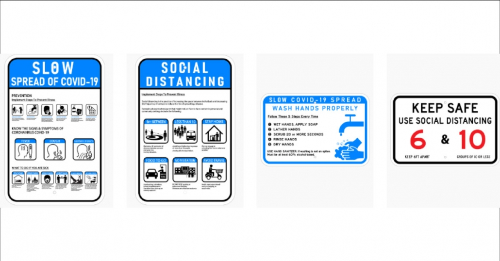 COVID 19 Social Distancing Signs and Graphics