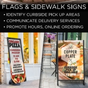 Sidewalk signs for curbside pickup and delivery in Irvine CA