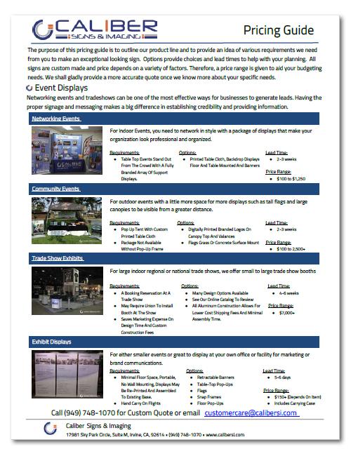 Caliber Event Displays Price Guide