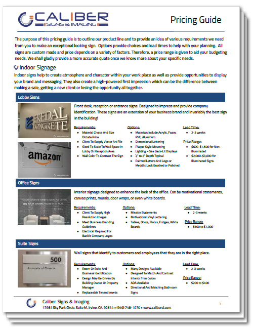 Caliber Indoor Signage Price Guide