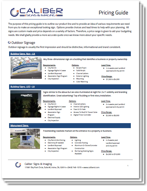 Caliber Outdoor Signage Price Guide