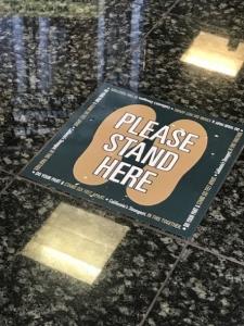 Please Stand Here Social Distancing Floor Decals in Irvine CA
