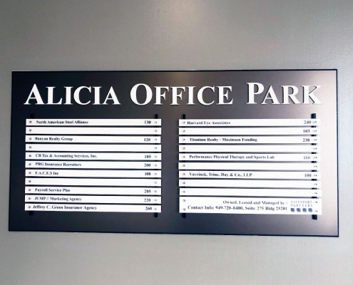 Custom Directory Wall Sign Aliso Viejo CA Caliber Signs and Imaging WEB