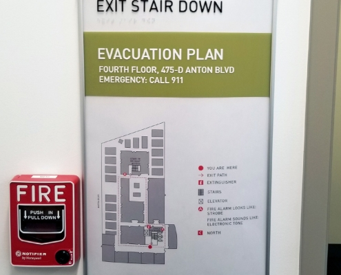 Evacuation Sign Exit Stair Down for Stairwell Caliber Signs and Imaging WEB
