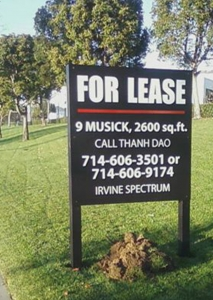 For Lease Property Sign Post and Panel Irvine CA Caliber Signs and Imaging WEB4