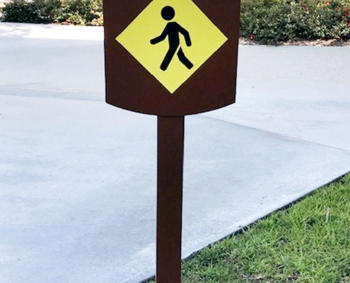 Pedestrian Directional Sign Irvine CA Caliber Signs and Imaging WEB