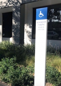 Property Reserved Parking Sign on Pillar Irvine CA Caliber Signs and Imaging WEB2