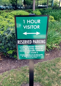 Reserved Parking Sign on Post Irvine CA Caliber Signs and Imaging WEB