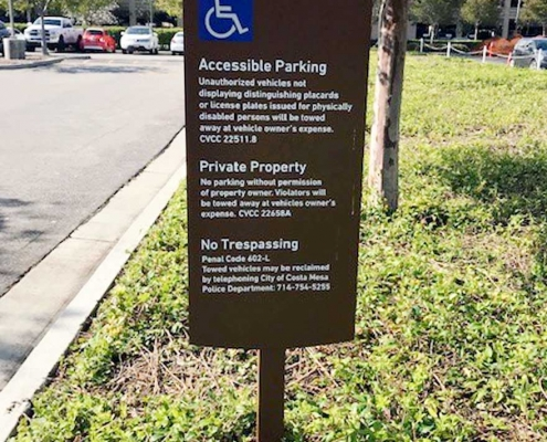 ADA Accessible Parking Signs in Costa Mesa CA