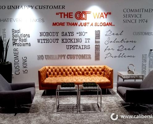 Reception Sign Custom Wall Signs Wall Mural OCT Santa Ana CA Caliber Signs and Imaging