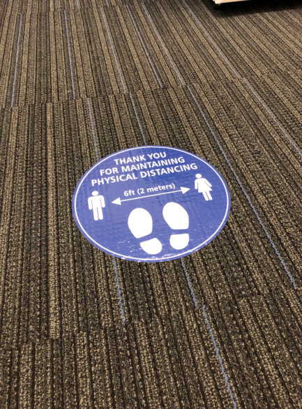Social Distancing Floor Decals for Offices Reopening in Orange County CA
