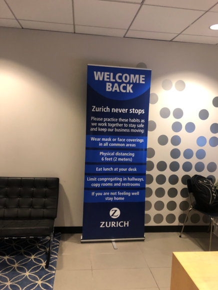 Welcome Back Banners Stands for Offices Reopening in Orange County CA