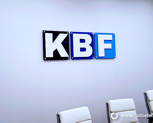Acrylic Signs Lobby Display KBF Irvine CA Caliber Signs and Imaging