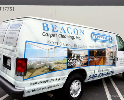 Commercial Van Wrap Carpet Company Beacon Carpet Cleaning Caliber Signs and Imaging