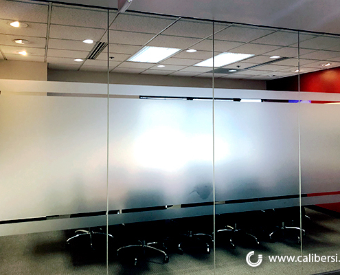 Conference Room Etched Frosted Windows Caliber Signs and Imaging