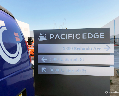 Corporate Monument Directional Monument Sign Pacific Edge Long Beach CA Caliber Signs and Imaging