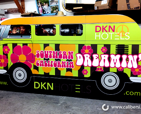Custom Bus Cut Out Wrap DKN Hotels Caliber Signs and Imaging