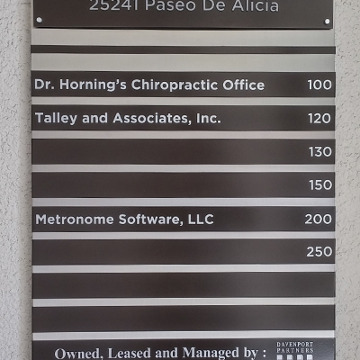 Custom Directory Sign with Tenant Strips Davenport Partners Laguna Hills CA Caliber Signs and Imaging 1
